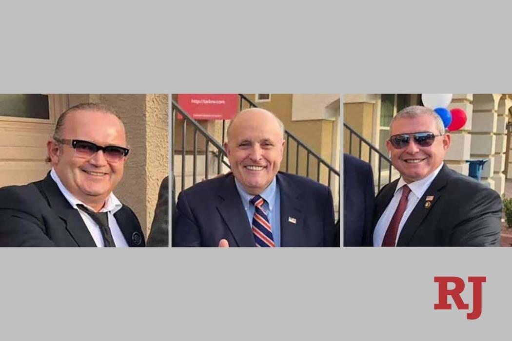 Igor Fruman, left, former New York Mayor Rudy Giuliani and Lev Parnas (Facebook)
