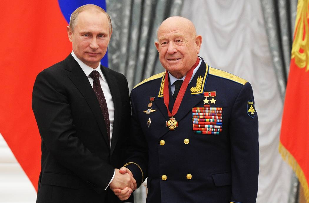 FILE - In this Friday, June 14, 2013 file photo, Russian cosmonaut Alexei Leonov, who made the ...