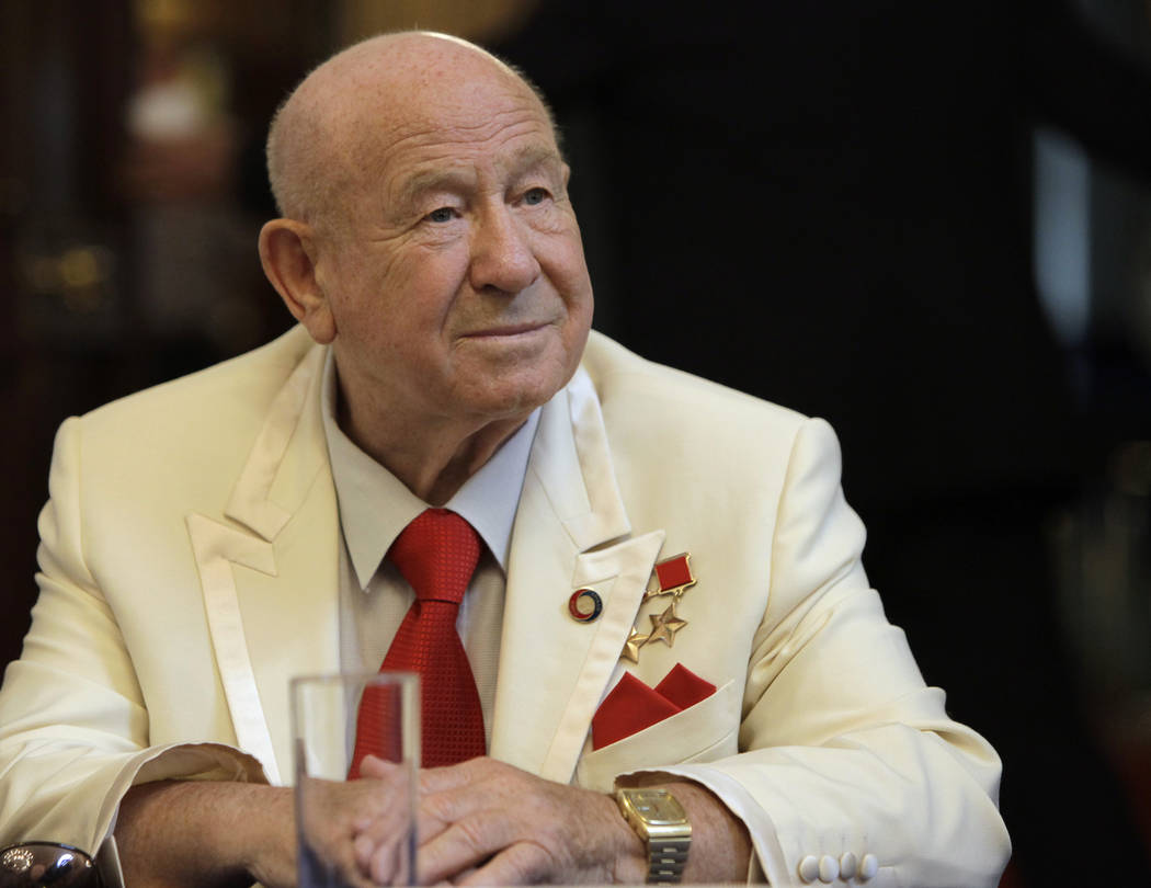 FILE - In this Tuesday, July 20, 2010 file photo, former Russian cosmonaut Alexei Leonov speaks ...