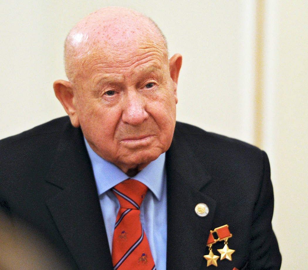 In a June 14, 2013, file photo, Russian cosmonaut Alexei Leonov, who made the first spacewalk i ...