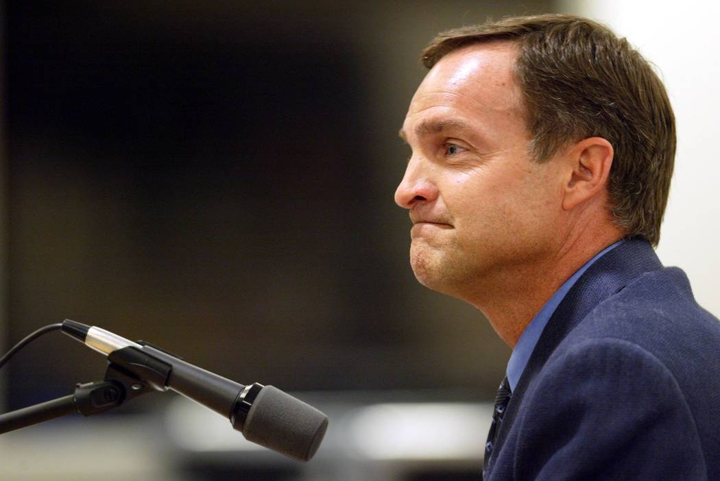 Proposed UNLV men's basketball coach Lon Kruger answers questions during a University and Commu ...