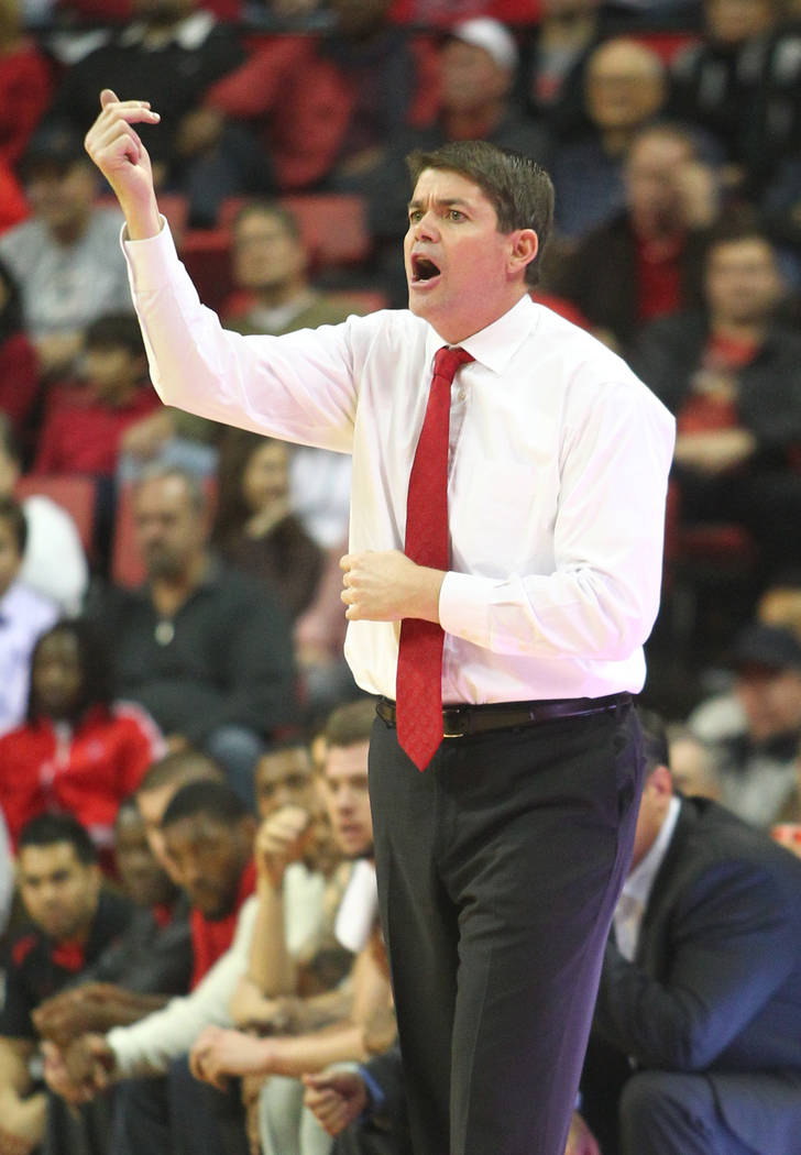 UNLV head coach Dave Rice shouts out to his team during a game against Northern Iowa at the Tho ...