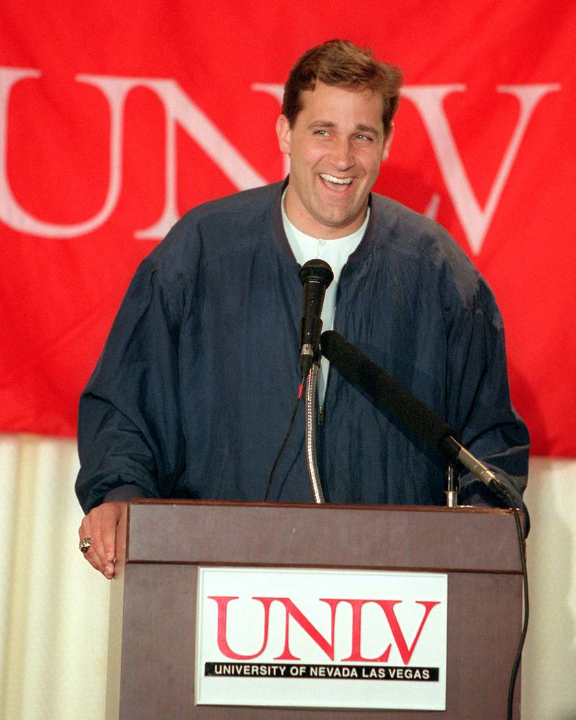UNLV Basketball Coach Bill Bayno announces UNLV basketball signings on April 4, 1996 at the Tho ...