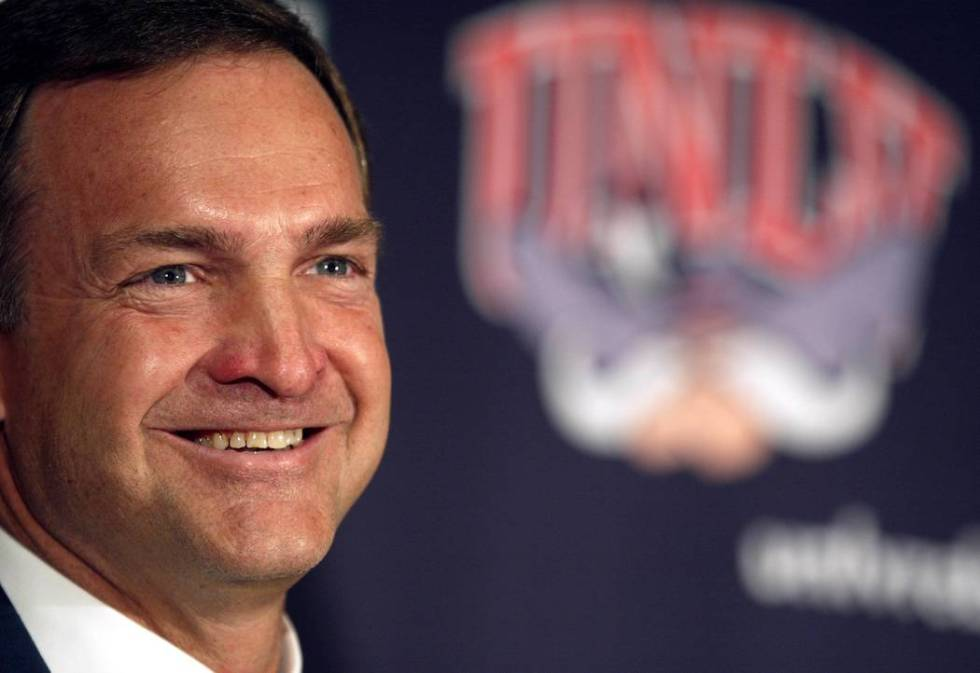UNLV men's basketball coach Lon Kruger laughs during a press conference at Thomas and Mack Cent ...