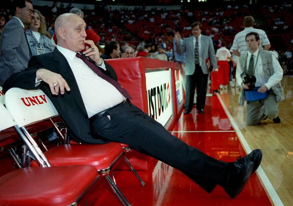 Jerry Tarkanian waits to coach his last game for UNLV at Thomas Mack on March 4, 1992. (Jeff Sc ...