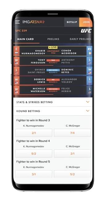 UFC Event Centre displayed on a mobile phone. (Courtesy, UFC)