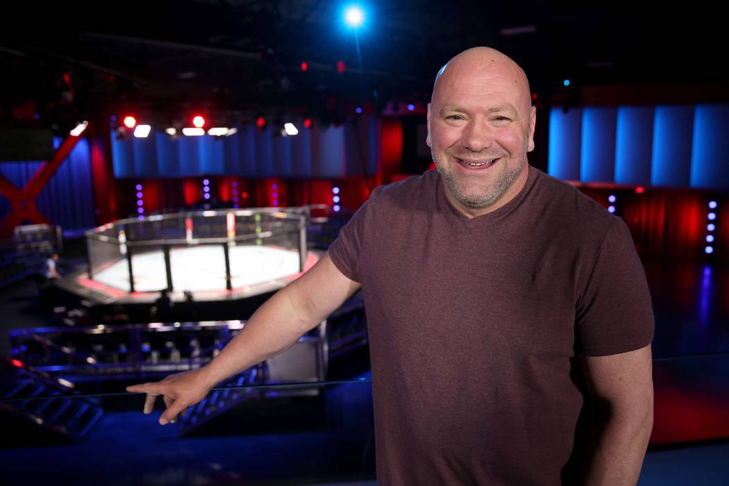 Ultimate Fighting Championship President Dana White in the VIP area overlooking the arena durin ...