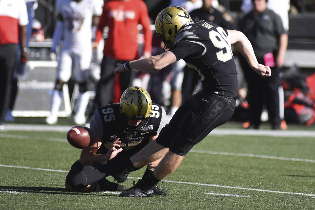 Vanderbilt kicker Ryley Guay makes a 48-yard field goal against UNLV in the first half of an NC ...