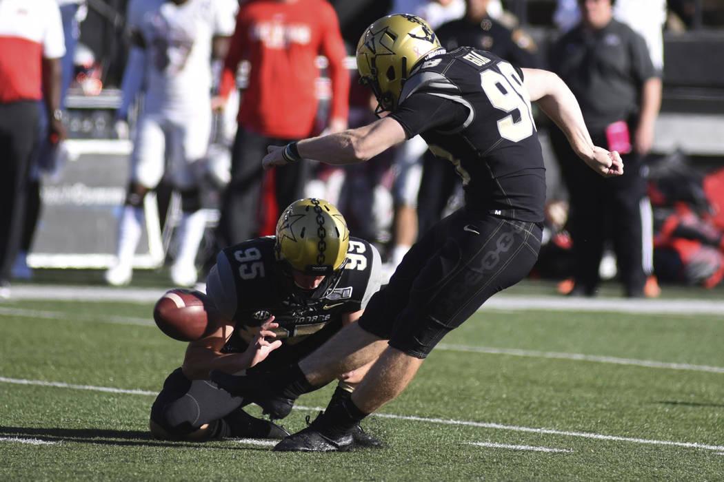Vanderbilt kicker Ryley Guay makes a 48-yard field goal against UNLV in the first half of an NC ...