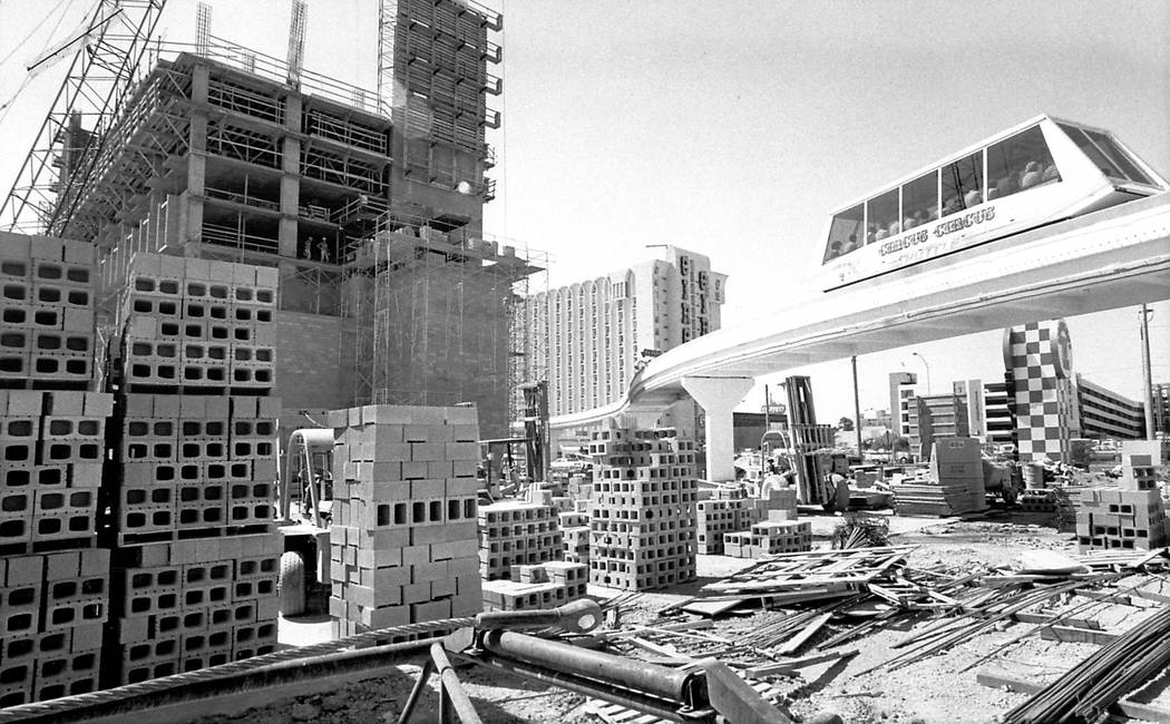 Circus Circus in the process of constructing one of its expansions on June 7, 1985 in Las Vegas ...