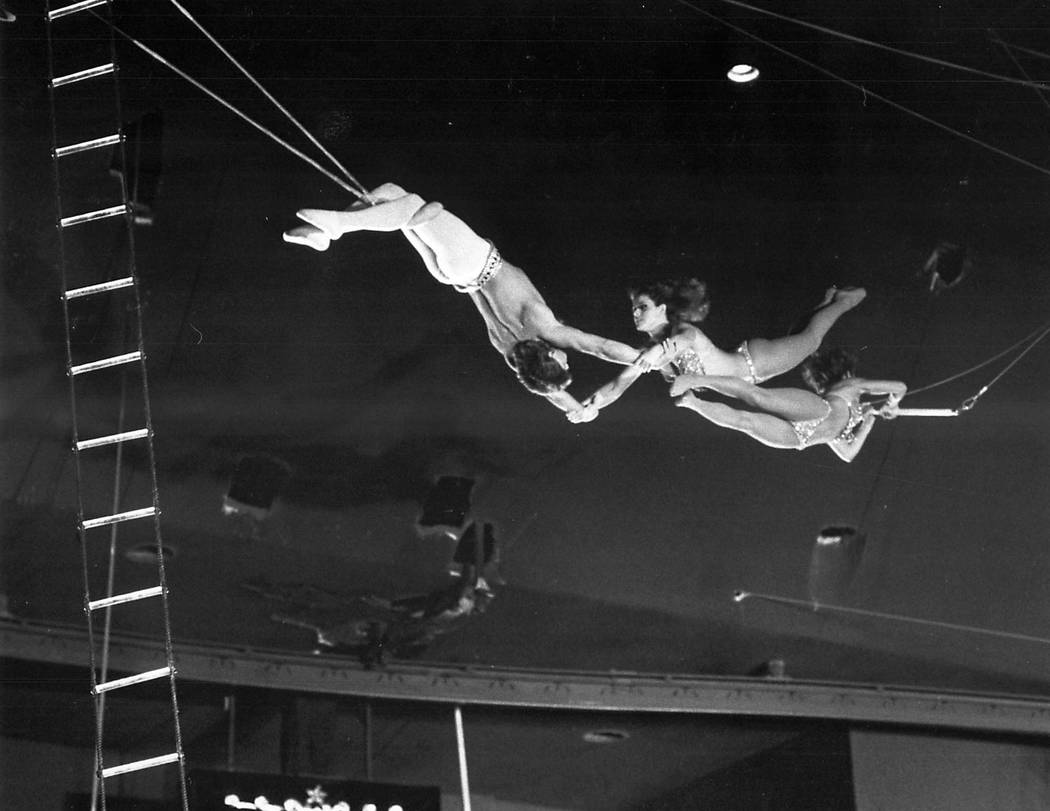 A high flying act performs at Circus Circus on December 5, 1985 in Las Vegas. (Las Vegas Review ...
