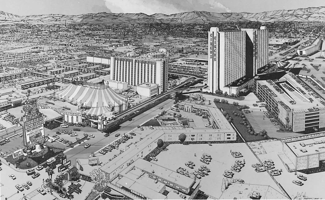 The Circus-Circus 29-story tower expansion on Jan. 21, 1985. (Las Vegas Review-Journal file)