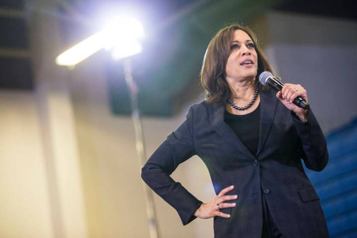 U.S. Sen. Kamala Harris, D-Calif., a Democratic presidential hopeful, speaks during a campaign ...