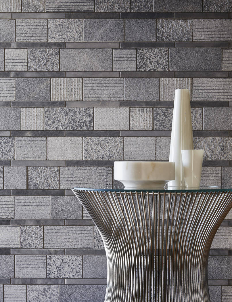 Combining multiple textures of stone in a variety of geometric shapes, the Shift collection of ...