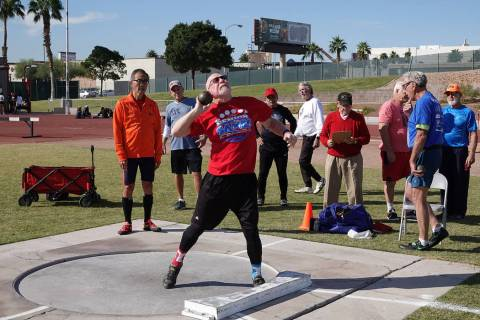 Gary Wuest of Sacramento, California, participates Oct. 11 in a Nevada Senior Games track and f ...