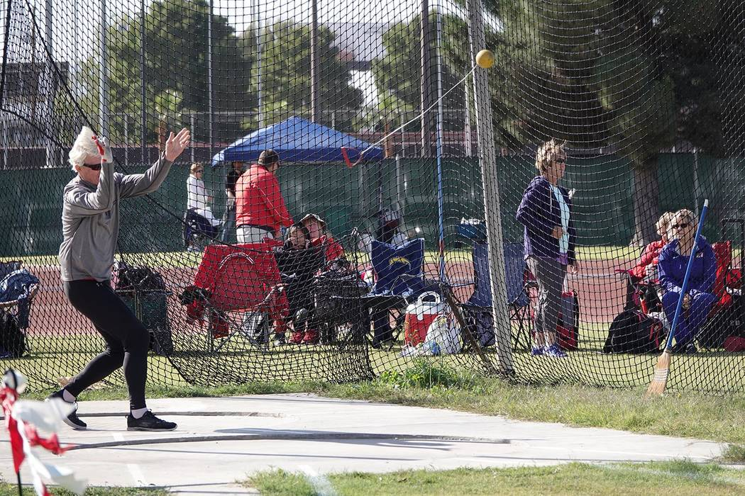 A competitor participates Oct. 11 in a Nevada Senior Games track and field meet at UNLV's Myron ...