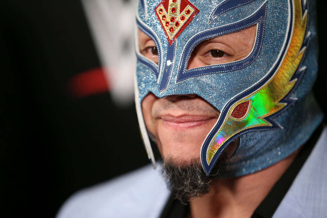 Rey Mysterio is interviewed during a World Wrestling Entertainment event at T-Mobile Arena in L ...
