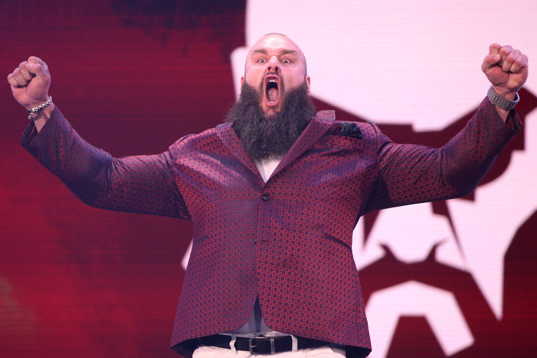 Braun Strowman poses during a World Wrestling Entertainment press conference at T-Mobile Arena ...