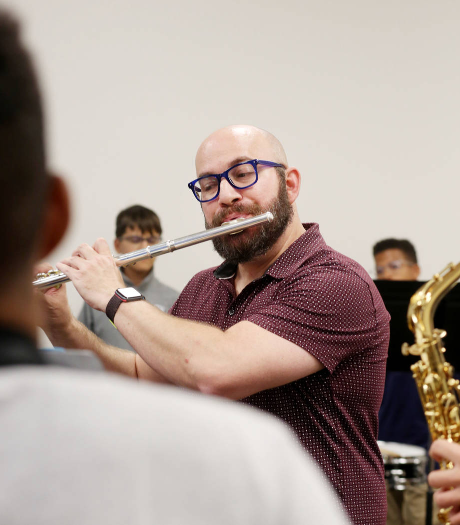 Director of the conservatory of Pinecrest Academy of Nevada, Chuck Maguire, teaches his Advance ...