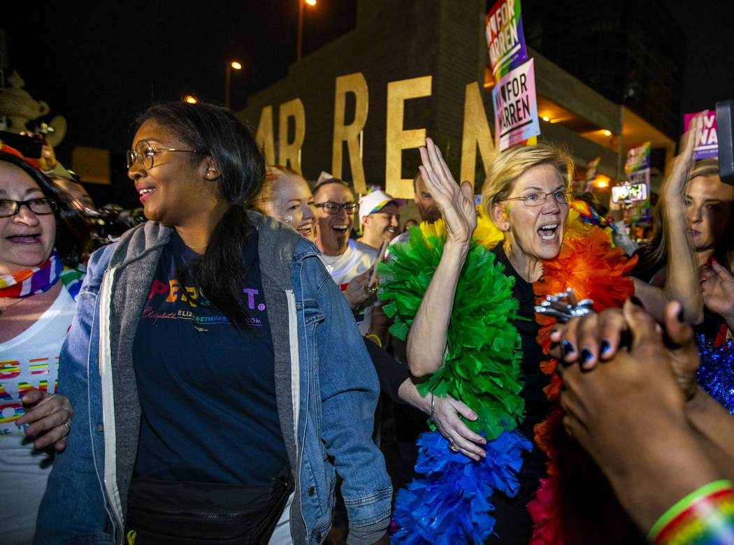 Democratic presidential candidate Sen. Elizabeth Warren, D-Mass., marching in the Pride parade ...