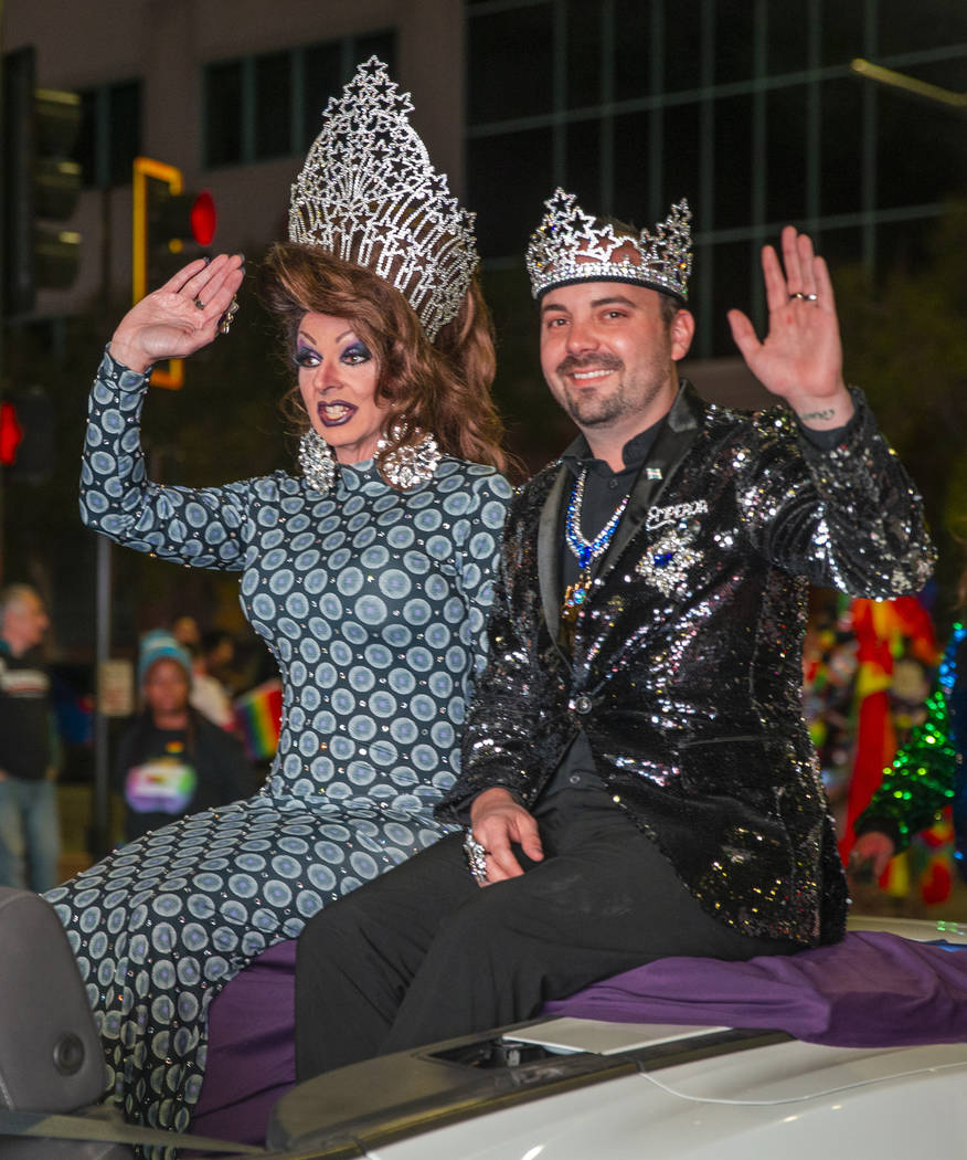 21st Empress and Emperor Taylor and Alex ride up S. Fourth Street during the annual Las Vegas P ...