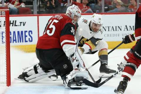 Arizona Coyotes goaltender Darcy Kuemper (35) makes a save on a shot by Vegas Golden Knights le ...