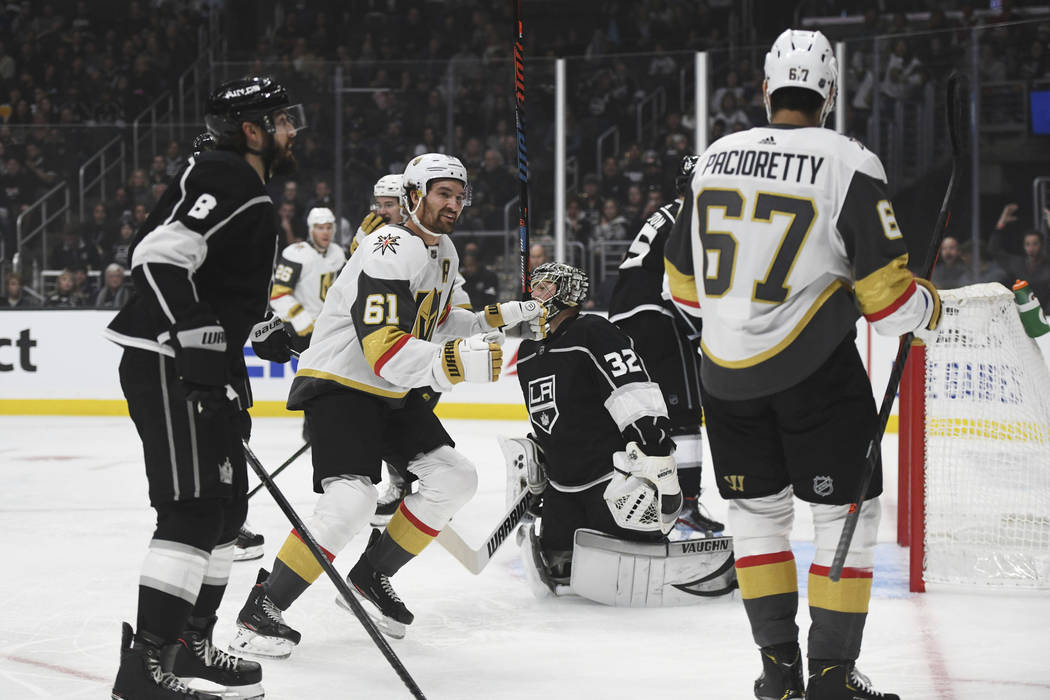 Vegas Golden Knights right wing Mark Stone (61) reacts after teammate left wing Max Pacioretty ...