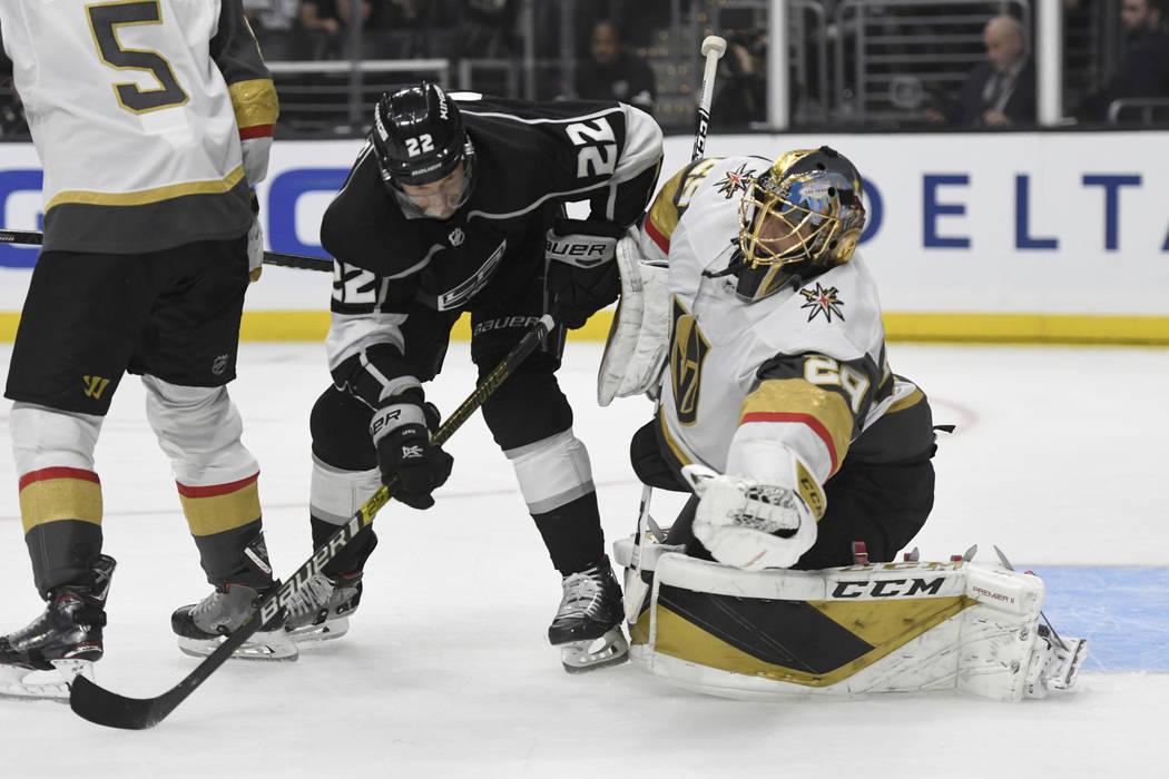 Vegas Golden Knights goalie Marc-Andre Fleury makes a save as Los Angeles Kings center Trevor L ...