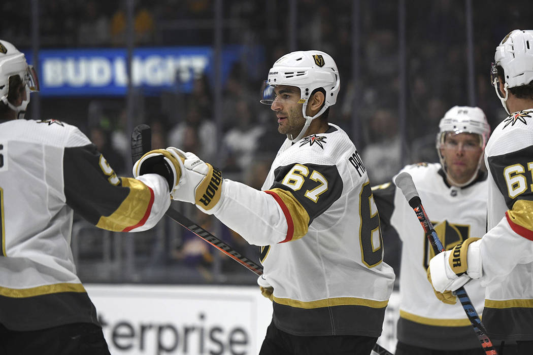 Vegas Golden Knights left wing Max Pacioretty (67) is congratulated after scoring against the L ...