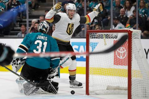 Vegas Golden Knights' Brayden McNabb (3) celebrates after scoring a goal against San Jose Shark ...