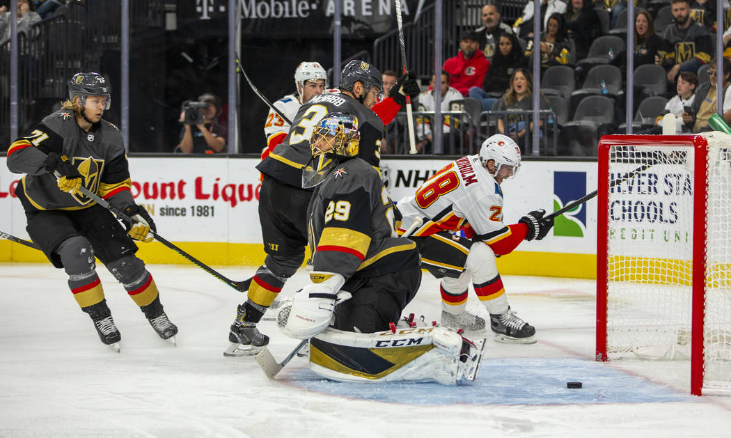 Vegas Golden Knights goaltender Marc-Andre Fleury (29) has a puck get past into the net by the ...