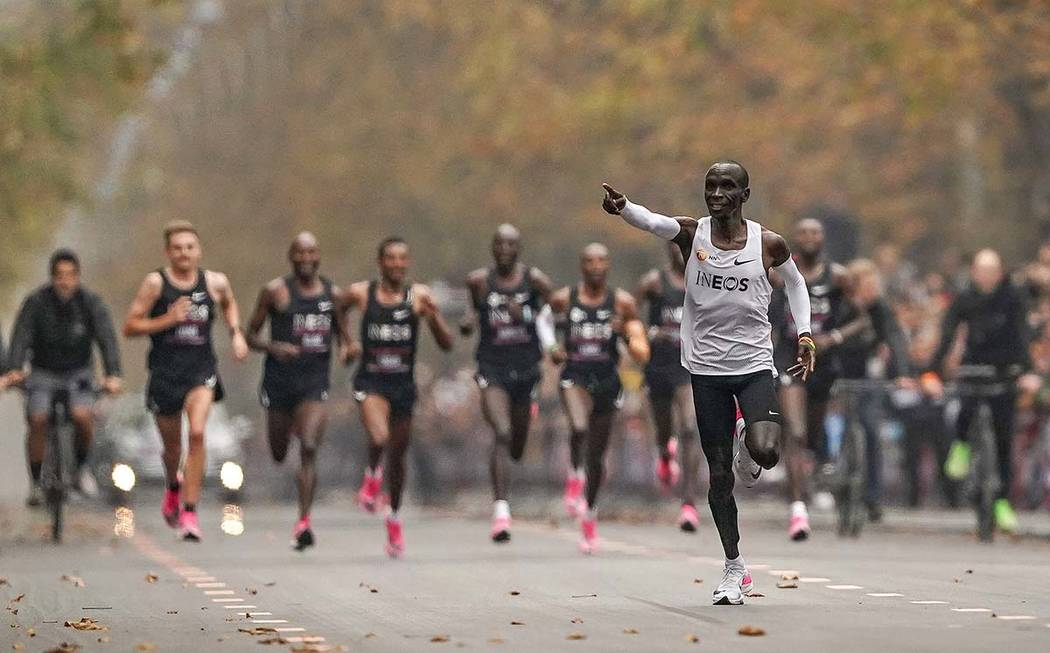 Eliud Kipchoge runs on his way to break the historic two hour barrier for a marathon in Vienna, ...