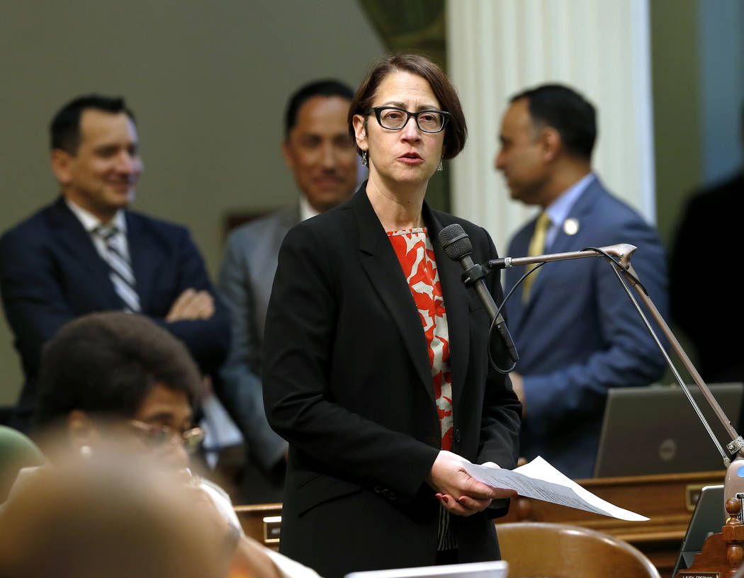 FILE -- In this May 28,2019 file photo Assemblywoman Laura Friedman, D-Glendale, urges lawmaker ...
