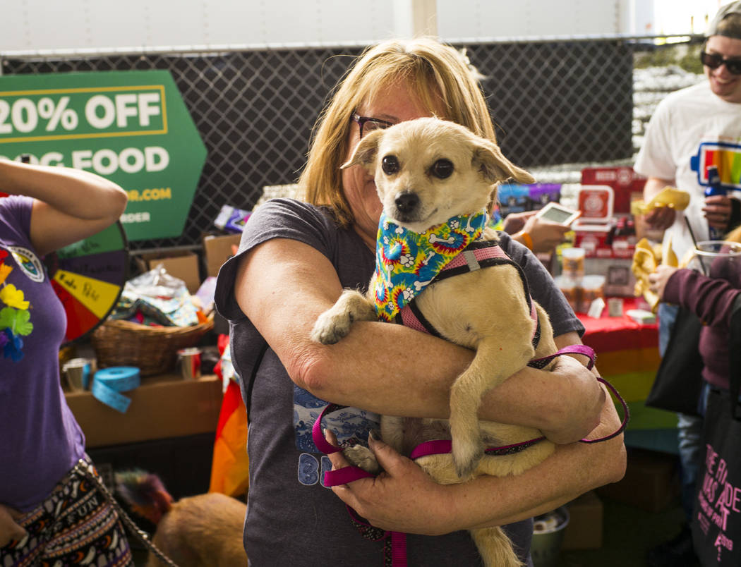Lisa Giles, of Las Vegas, holds up Dakota, sporting a new bandana, at the Pride Pets area of th ...