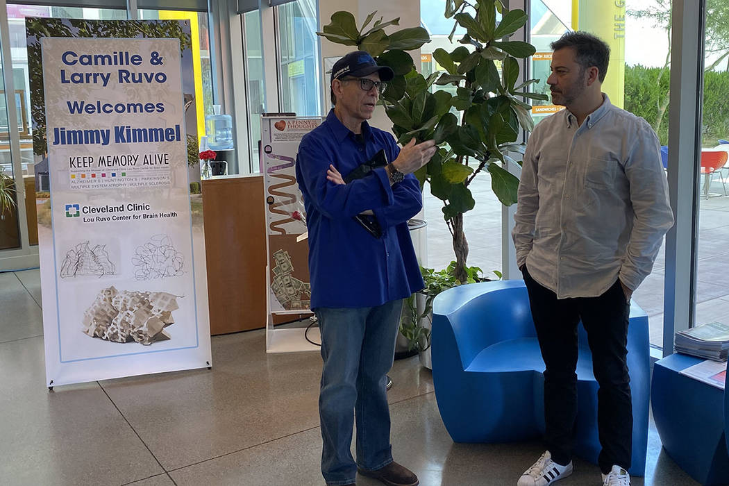 Cleveland Clinic Lou Ruvo Center for Brain Health board member Michael Severino chats with Jimm ...