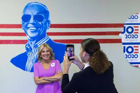 Jill Biden, wife of former Vice President and Democratic presidential candidate Joe Biden, pose ...