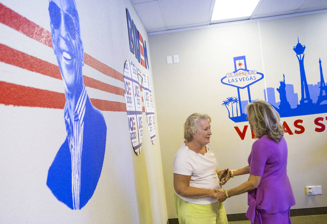 Jill Biden, wife of former Vice President and Democratic presidential candidate Joe Biden, talk ...