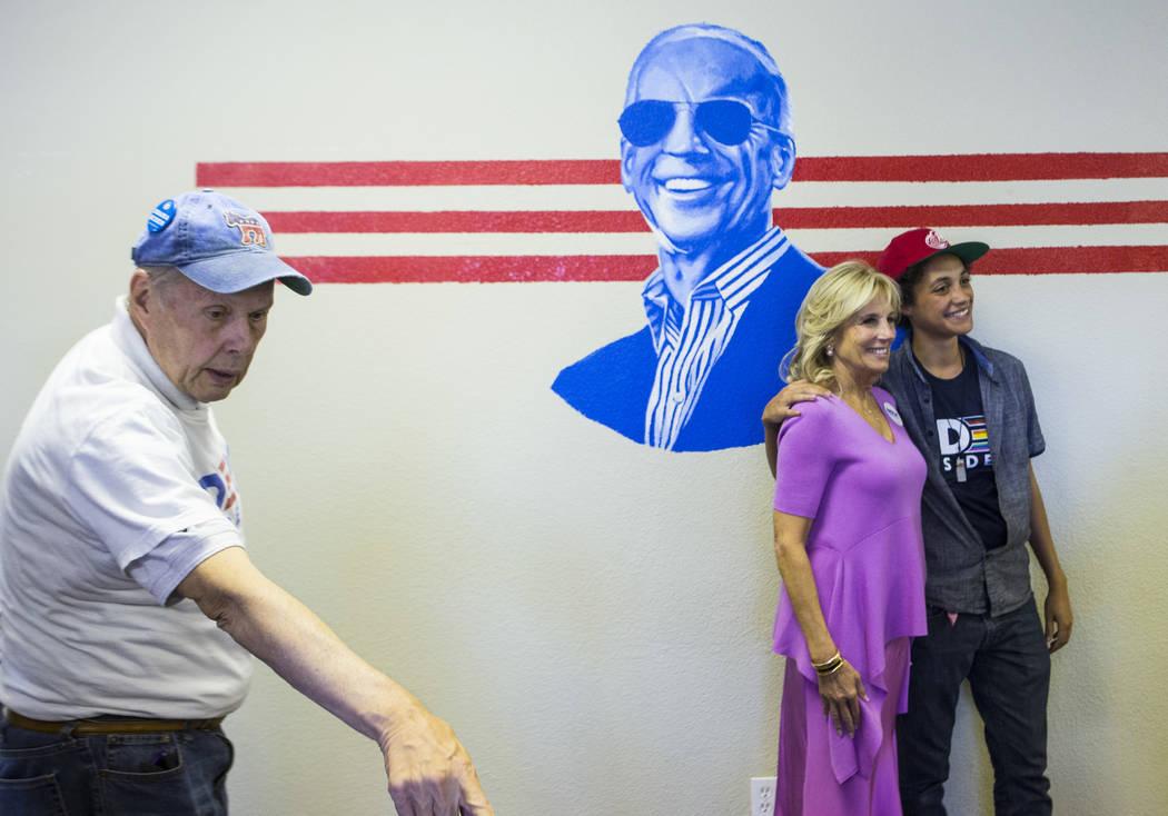 Jill Biden, wife of former Vice President and Democratic presidential candidate Joe Biden, pose ...