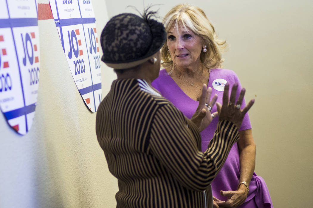 Jill Biden, wife of former Vice President and Democratic presidential candidate Joe Biden, righ ...