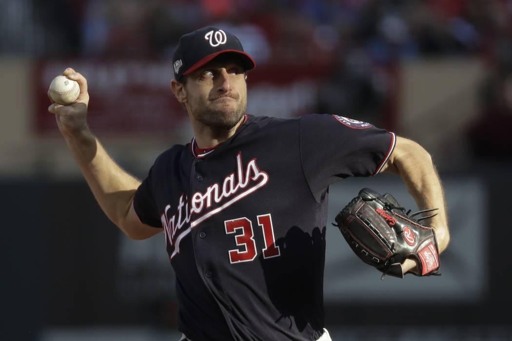 Washington Nationals starting pitcher Max Scherzer during the fourth inning of Game 2 of the ba ...