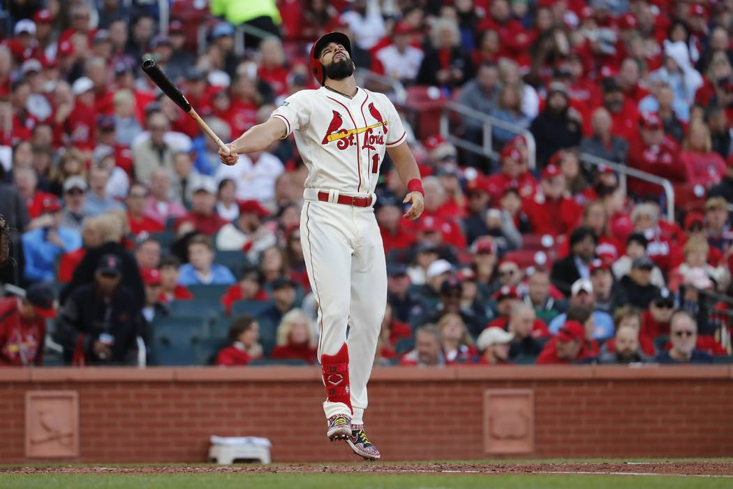 St. Louis Cardinals' Matt Carpenter reacts after striking out during the fifth inning of Game 2 ...
