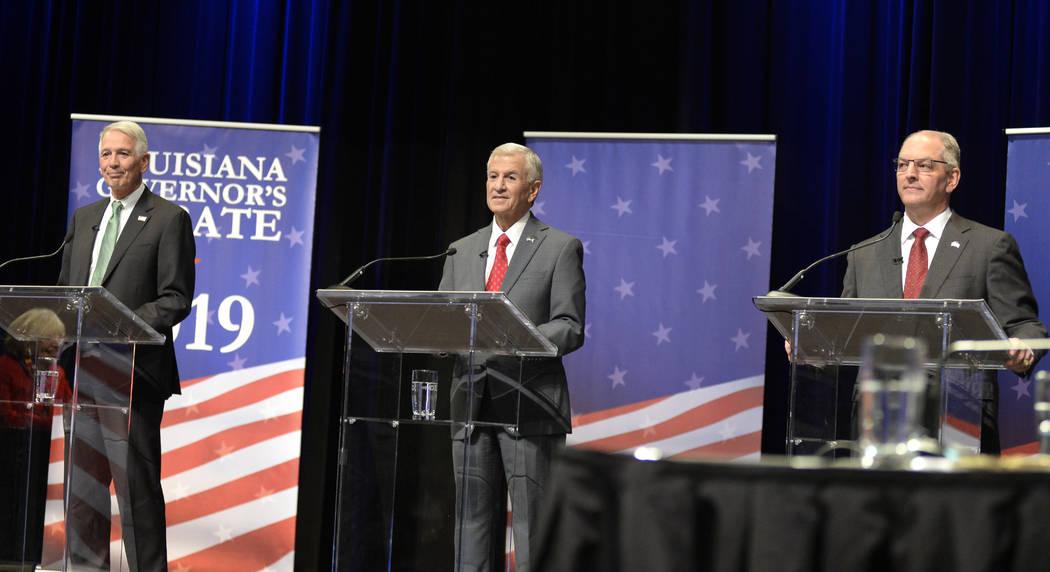 Gubernatorial candidates, from left, U.S. Rep. Ralph Abraham, Eddie Rispone, and Gov. John Bel ...