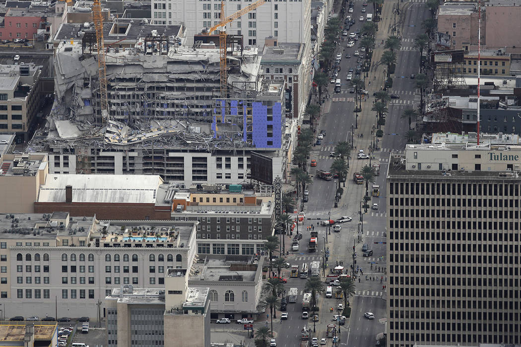 This aerial photo shows the Hard Rock Hotel, which was under construction, after a fatal partia ...