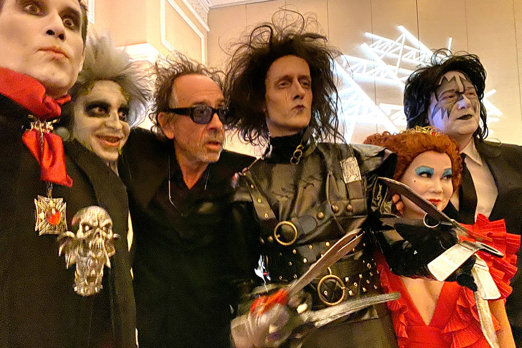 Tim Burton, third from left, poses with, from left, Gary Lewandowski of Los Angeles, Rick Decar ...
