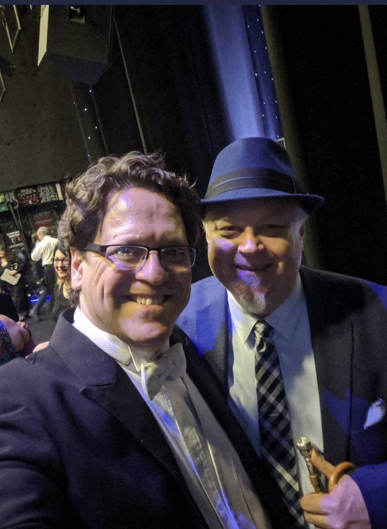 Las Vegas Philharmonic music director Donato Cabrera is shown with trumpet great Kenny Rampton ...