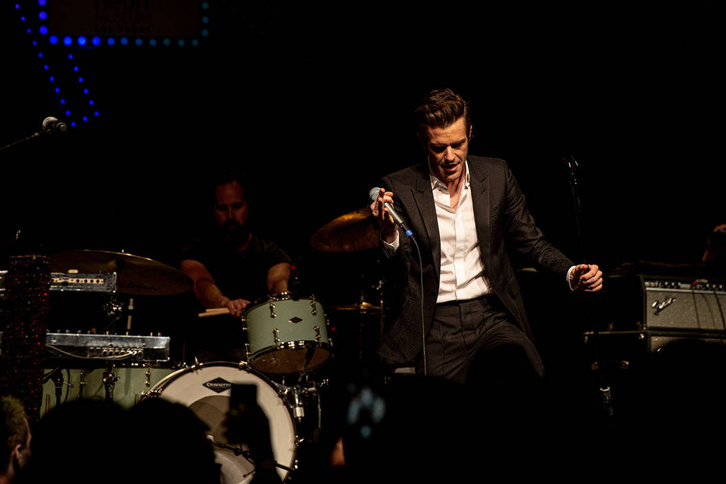 Brandon Flowers of The Killers performs at The Neon Museum's annual Boneyard Ball at Encore in ...