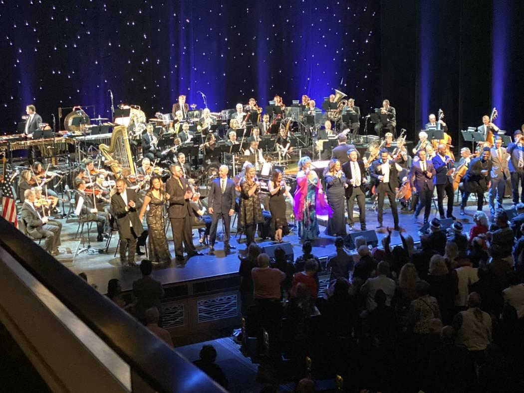 "The ""Viva Las Vegas"" finale at ""A Very Vegas Showcase"" on Saturday, Oct. 12, 2019. (John Katsil ..."