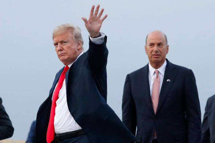 FILE - In this July 10, 2018, file photo, President Donald Trump is joined by Gordon Sondland, ...
