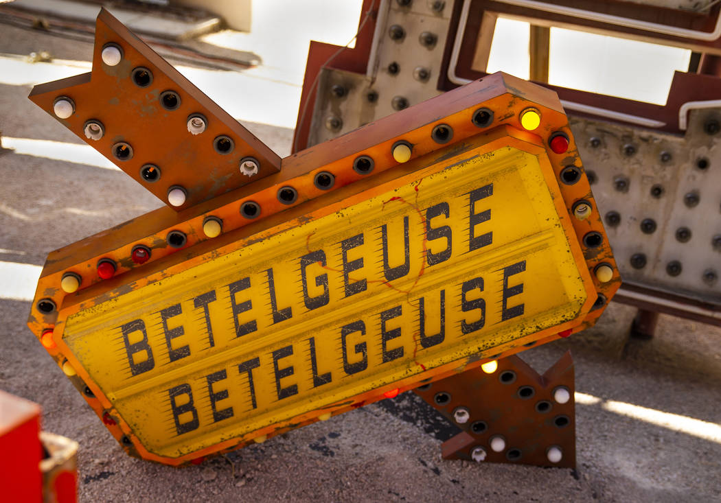 """Art piece """"Betelgeuse Sign"""" by Tim Burton in his Lost Vegas art exhibition at the Ne ..."""