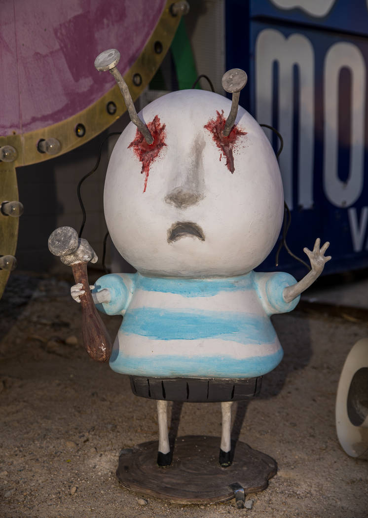"Art piece ""boy with Nails in His Eyes"" by Tim Burton in his Lost Vegas art exhibition ..."